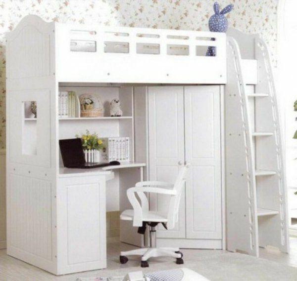 Lit Mezzanine Avec Armoire Et Bureau