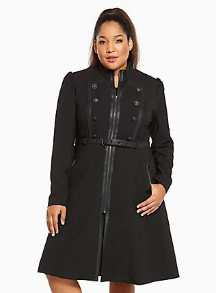 Plus Size Lace Up Belted Military Jacket, DEEP BLACK | Fashion ...
