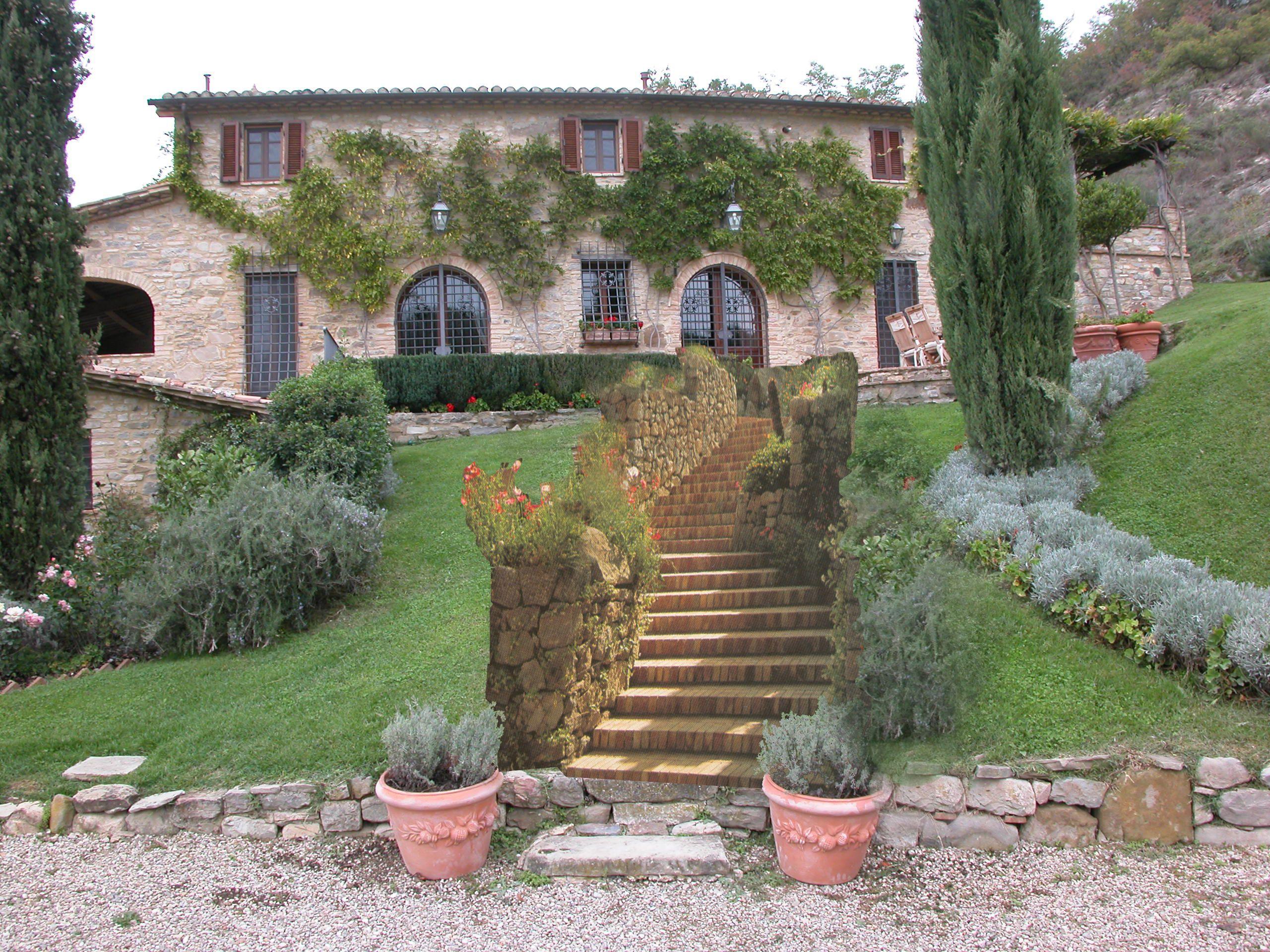 Progetto di scalinata di accesso ad una villa in montone - Progetto giardino privato ...