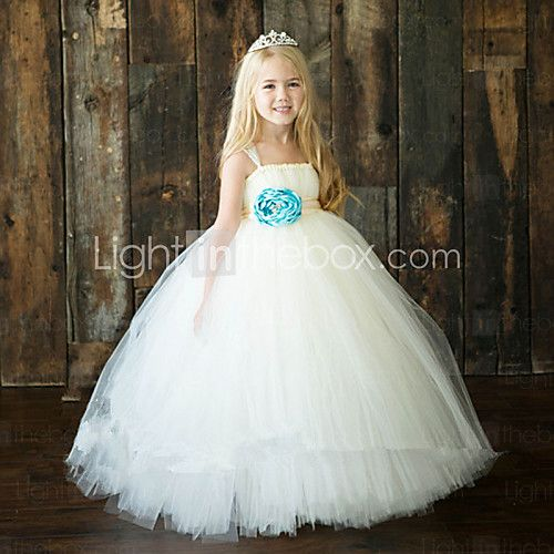 afe01f570f2 Ball Gown Ankle-length Flower Girl Dress - Tulle   Polyester Sleeveless  Spaghetti Straps with 2017 -  69.99