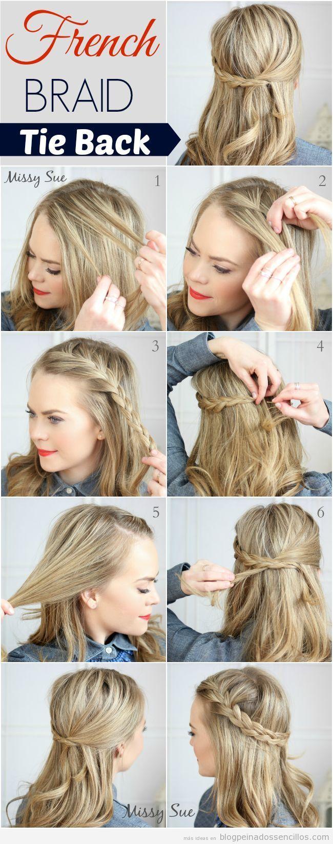 Tutorial peinado sencillo semirrecogido con trenza de lado - Tutorial de peinados ...