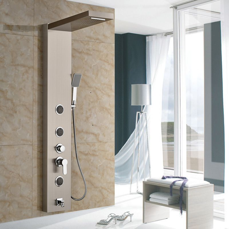 $163.80 | Brushed Nickel Shower Panel Shower Column Wall Mounted With Rain Waterfall  Shower Head Shower