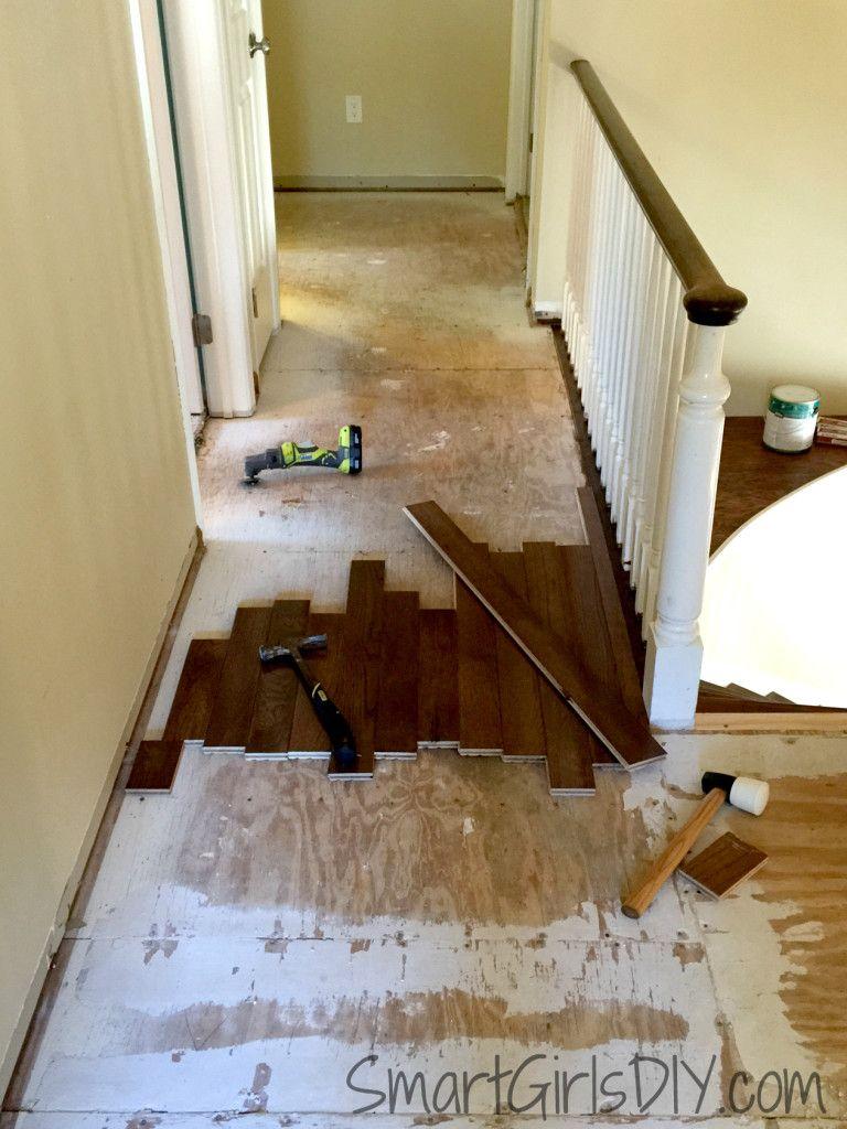 Hardwood In The Upstairs Hallway Smart Girls Diy Installing Hardwood Floors Bruce Hardwood Floors Flooring Cost