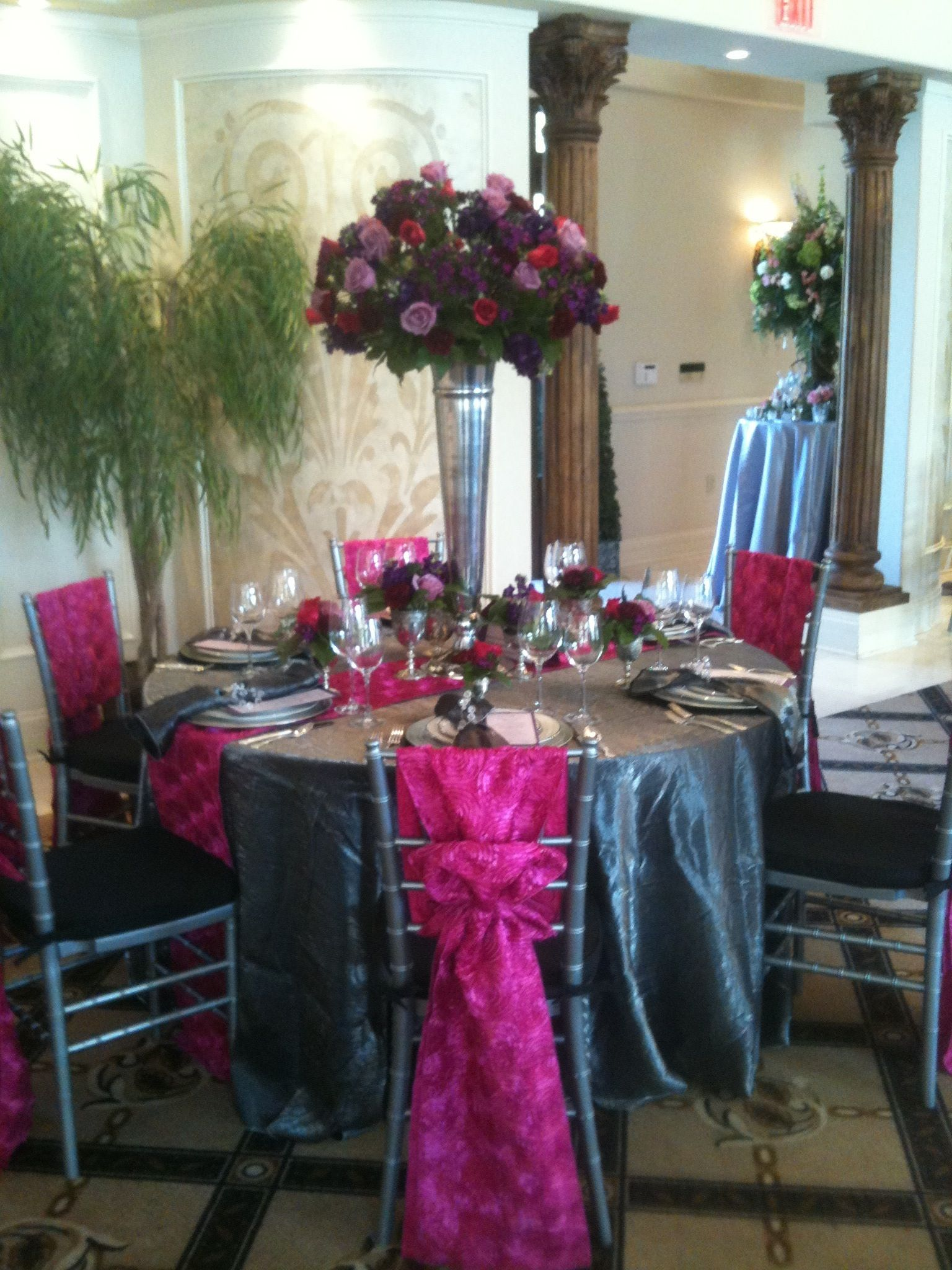 Tall Vase Centerpieces For Weddings Wedding Centerpiece With Hot Pink Roses Lilac