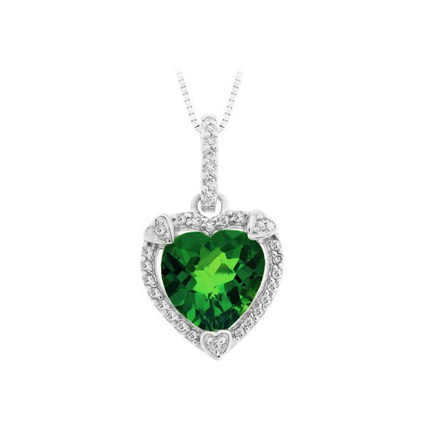 Created emerald and diamond heart pendant in sterling silver 120 created emerald and diamond heart pendant in sterling silver 120 liked on polyvore aloadofball Images