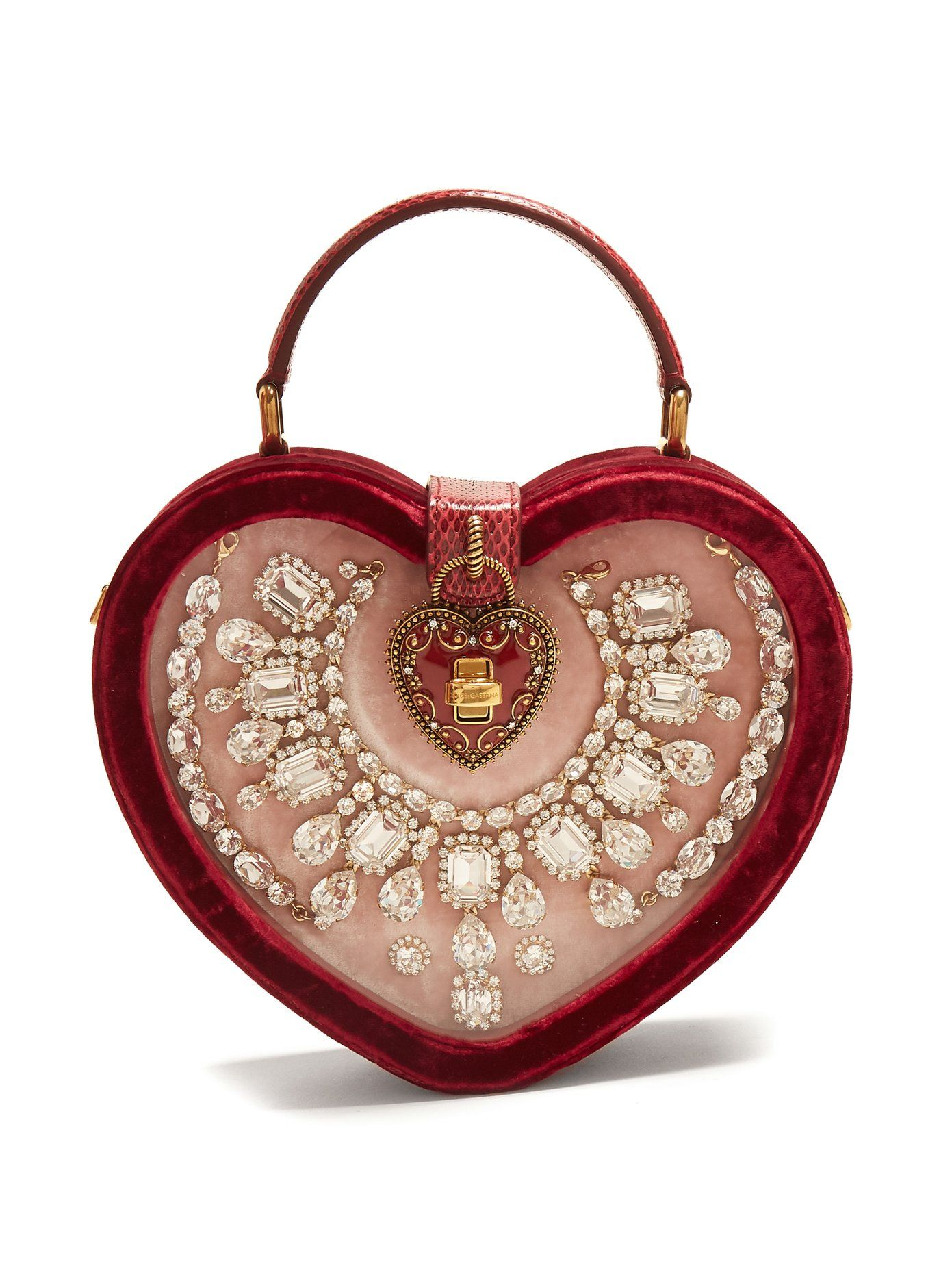 514b7d8d050 Crystal-embellished heart-shaped bag | Dolce & Gabbana | Doce& ...