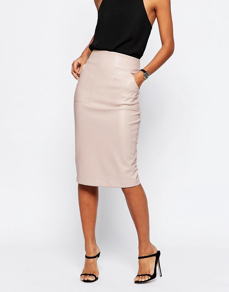 f469f99ea3 Image 4 of ASOS PU Pencil Skirt with Pocket Detail | My Clothing ...