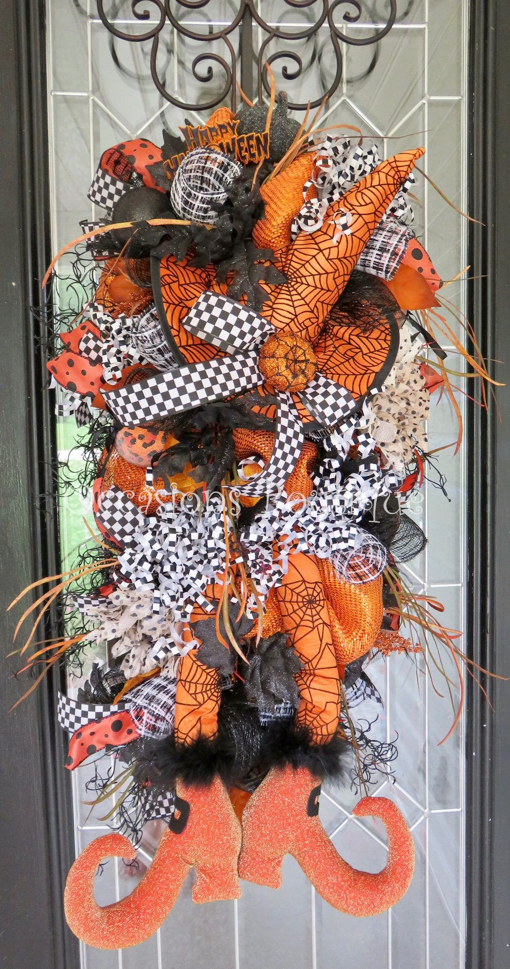 Halloween Swag, Wicked Witch Wreath, Halloween Door Swag, Front door - halloween front door decor