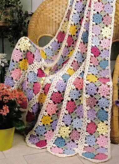 Parade of flowers heirloom afghan throw to crochet blanket pattern ...