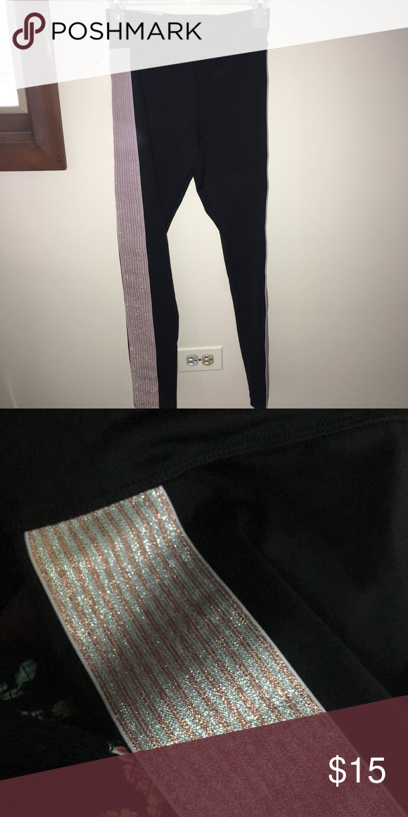 44340d66 Leggings black athletic high-rise leggings. has pink and white striped  sparkly pattern that
