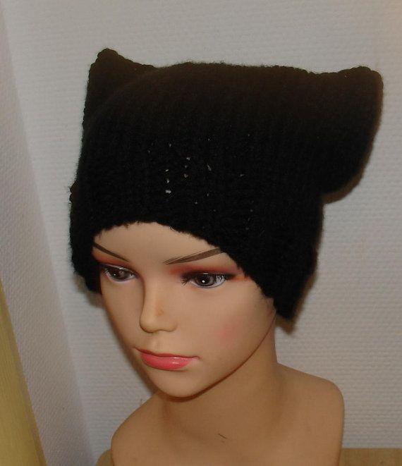 Knit Black Hat Cat Ears Hat Cat Beanie Chunky Knit by Ifonka, $25.00