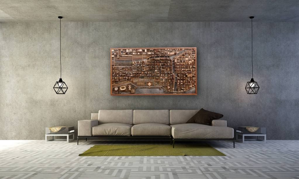 Chicago cityscape 54 large wood wall art reclaimed wood