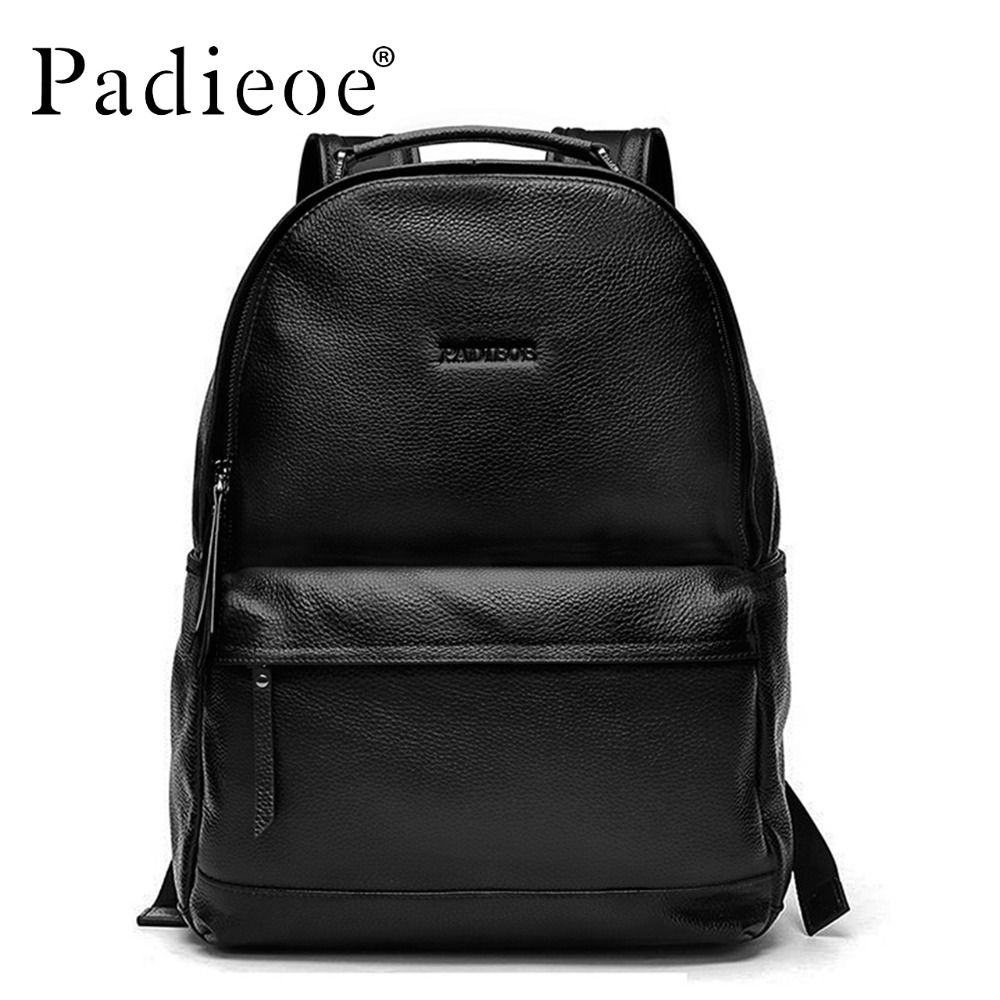 f57ca0e52554 Padieoe New Arrival Luxury Genuine Cow Leather Male Backpack Durable Black  Daypack Backpacks Fashion Solid Men Casual Backpacks