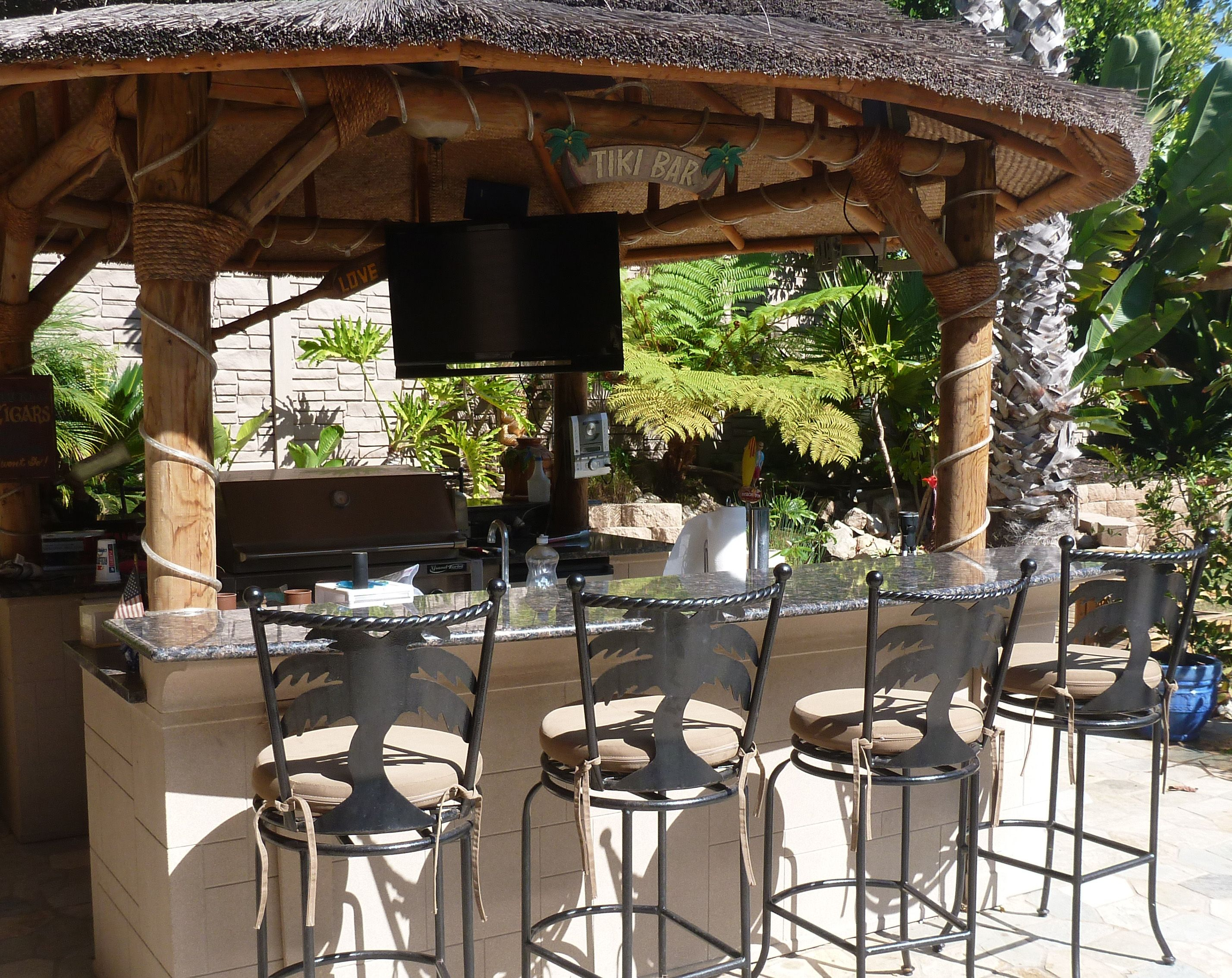 Outside Patio Tiki Bar with Tahiti Bar stools by Surf Side Patio