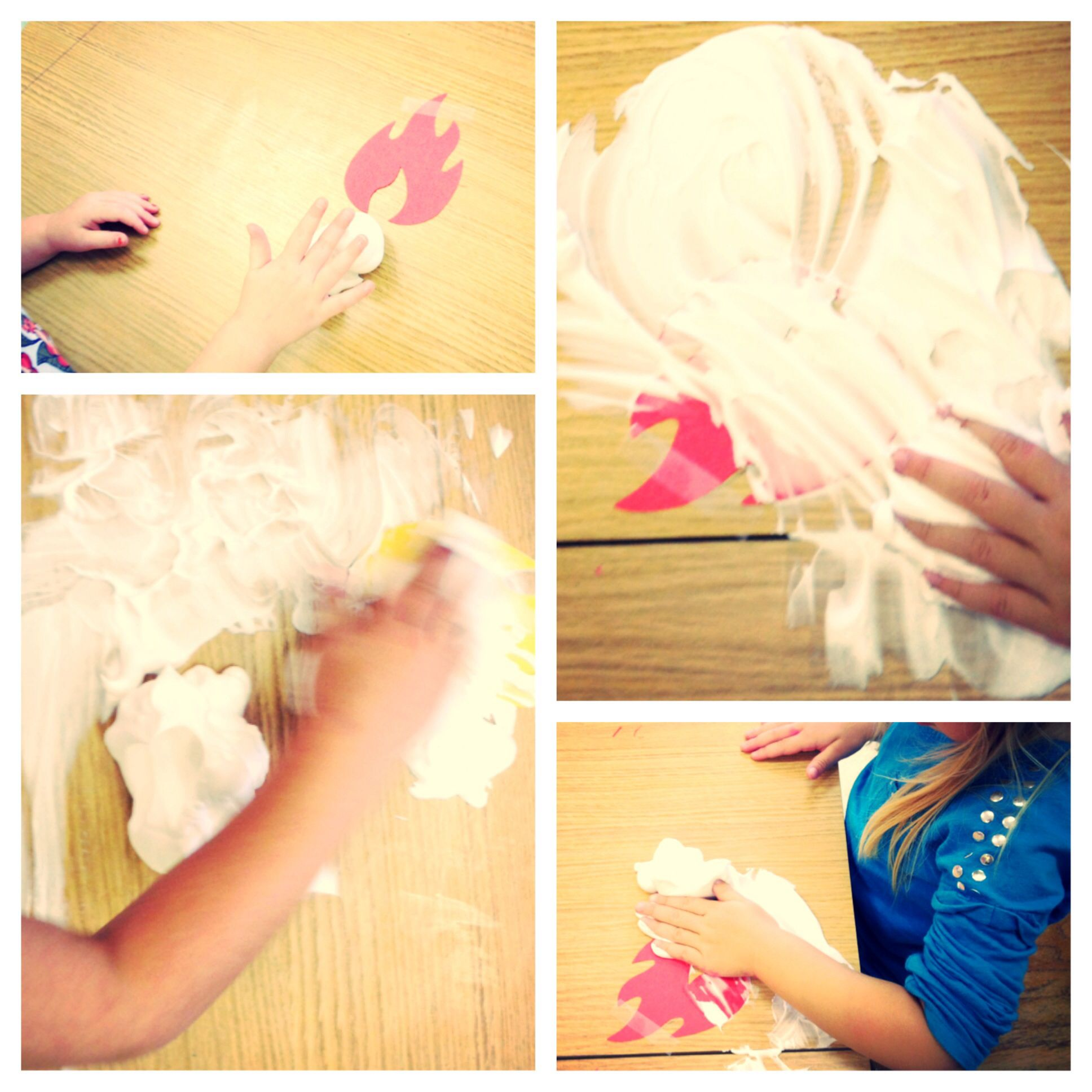 Putting Out The Fire With Shaving Cream Sensory Fun