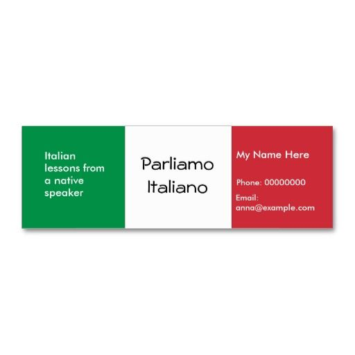 Teaching Italian Language Advertising Cards Business Card - Teacher business card template