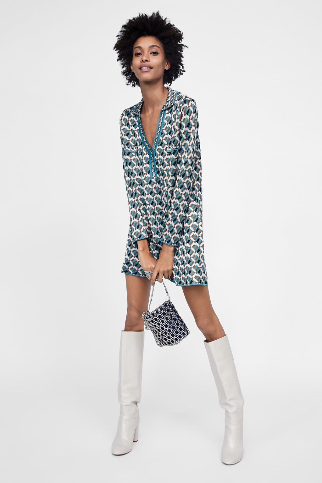 ca6b6b4aa09d Image 1 of JACQUARD KNIT DRESS from Zara | Dresses | Knit dress ...