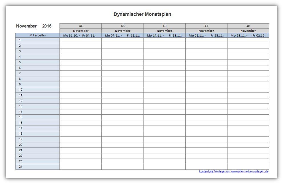 Dynamischer Monatsplan Die Excel-Vorlage dynamischer Monatsplan habe ...