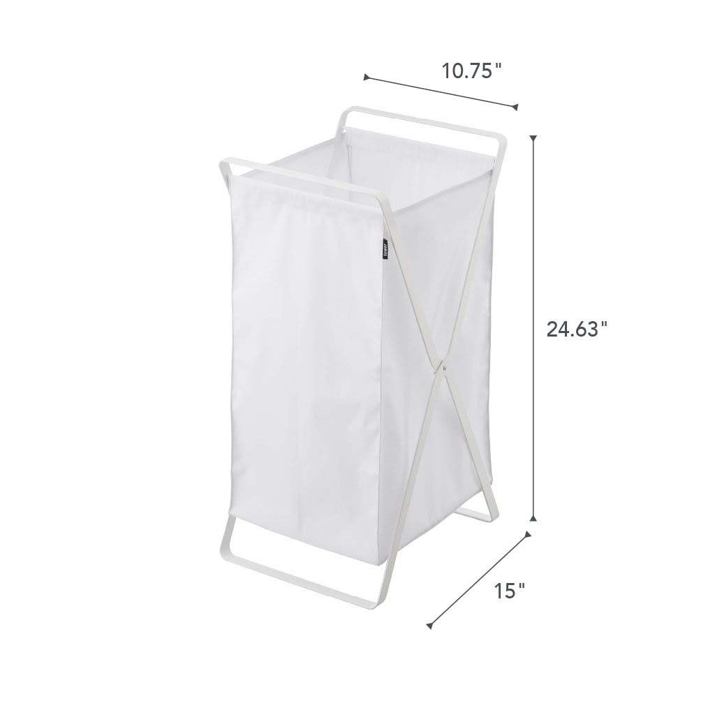 Materials: Steel, Polyester Dimensions: L 14.2 x W 11.8 x H 25.2 inches | Yamazaki Tower Laundry Hamper Storage Organizer in White