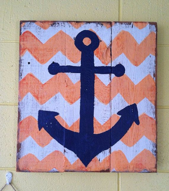 Coral And Navy Chevron And Anchor Sign   Baby Room, Home Decor, Or Wedding