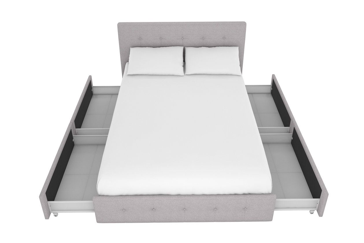 rose twin upholstered bed with storage