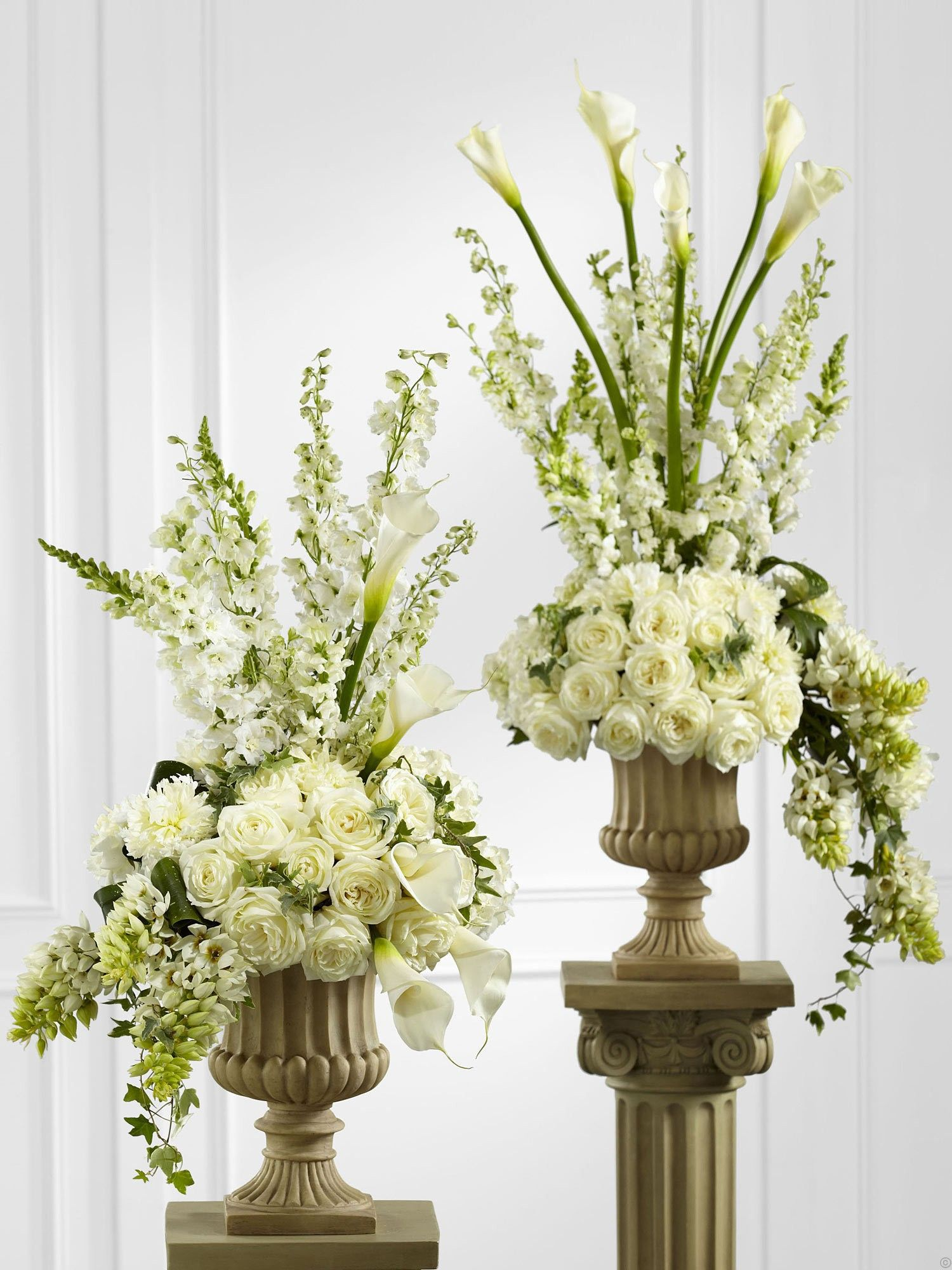 Pastel pedestal arrangements google search pastel for A arrangement florist flowers