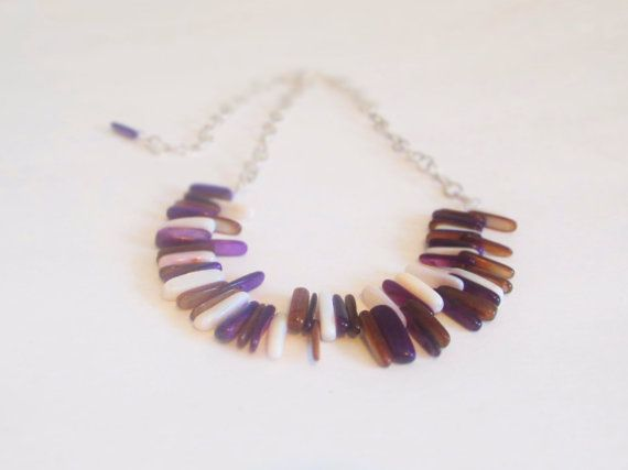 Purple and Neutral tone Silver Statement Necklace. Necklace made from Sunburst Seashell Sticks on Etsy, $29.00