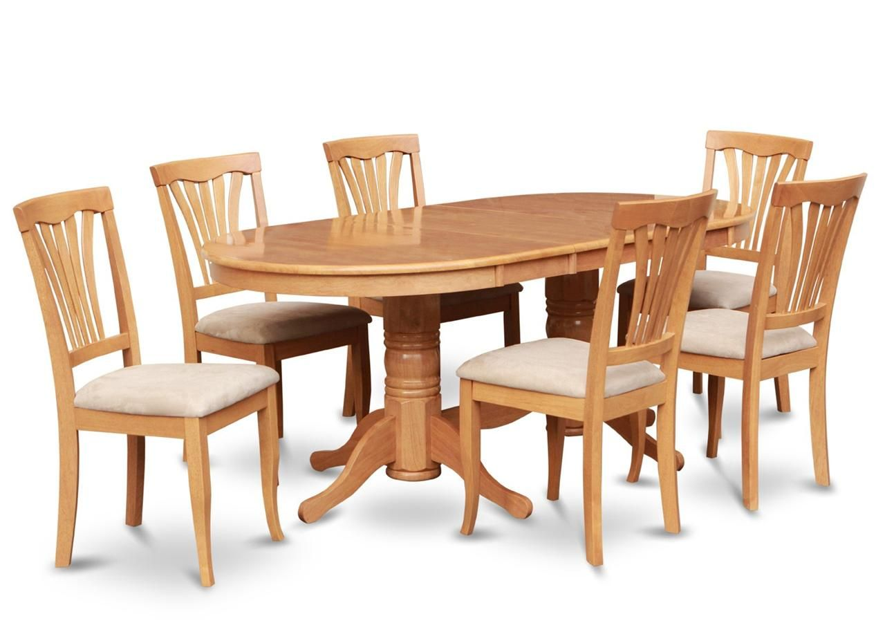 7pc oval dinette kitchen dining room set table with 6 upholstery chairs in oak oval dining - Dining room table images ...