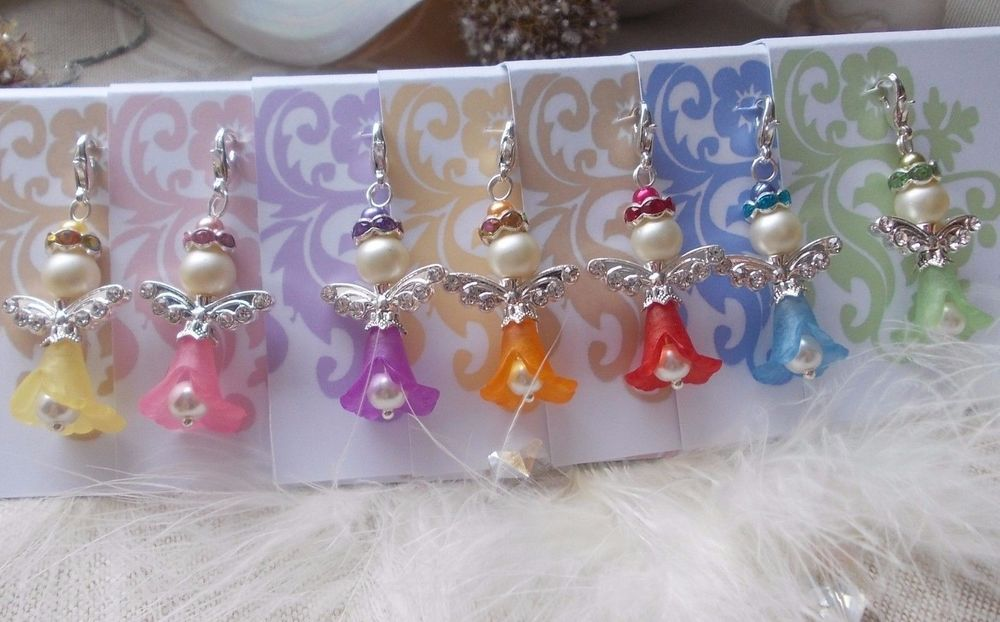 NEW ~ 20 Angel Pendant With Beads in White Guest Gift ~ Wedding ~ Deco