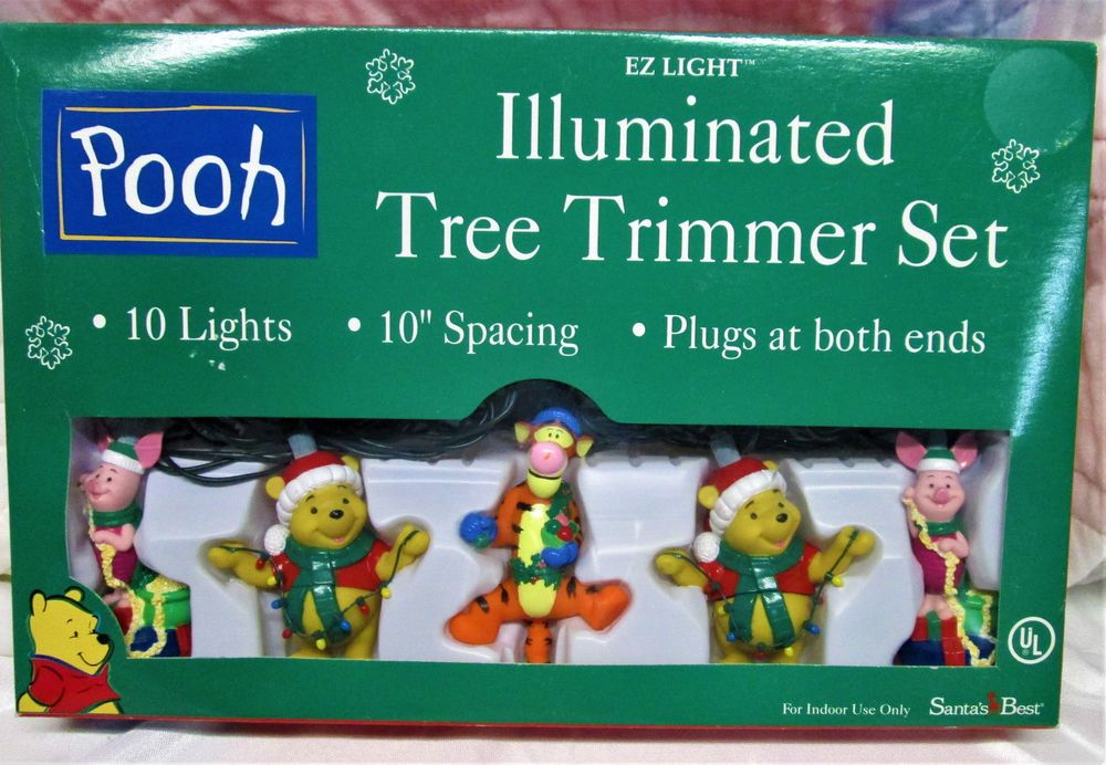 2 Disney Winnie The Pooh Christmas Tree Trimmer Light Set NIB