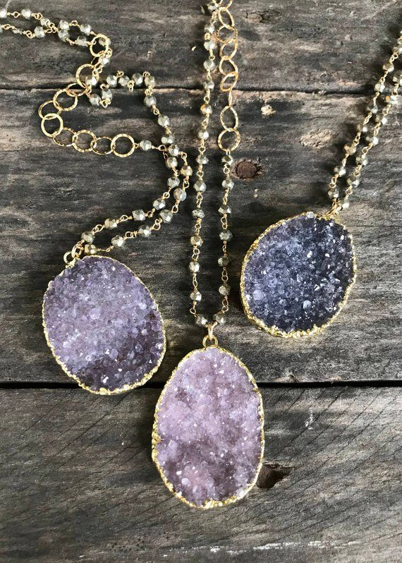 Dyed Druzy Irregular Slice Handmade Jewelry for Women Natural Gold Sliver Plated Geode Pendant Necklace