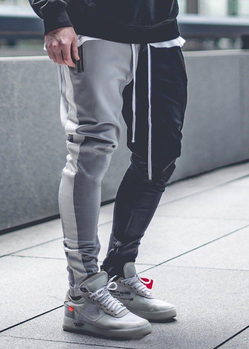 Men's Color Matching Color Zipper Casual Pants in 2019