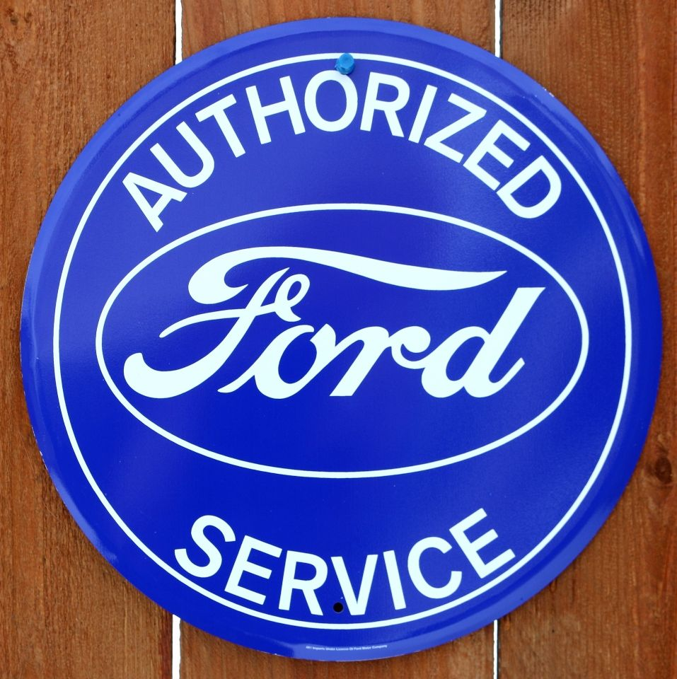 Authorized Ford Service Tin Metal Round Sign F150 Pickup Truck