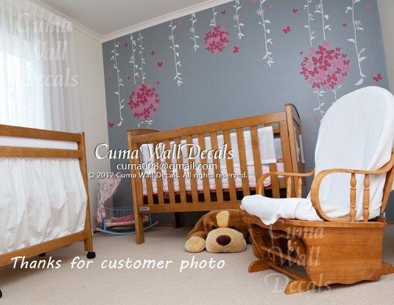Baby Girl Pink Wall Decal Nursery Wall Sticker Butterfly Flower Wall Decor   Butterfly Floral Ball Z108 Cuma Part 46