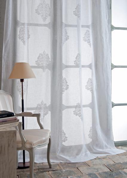 Tenda lino ricamo damasco all-over Quintessential | Tendaggi Mastro ...