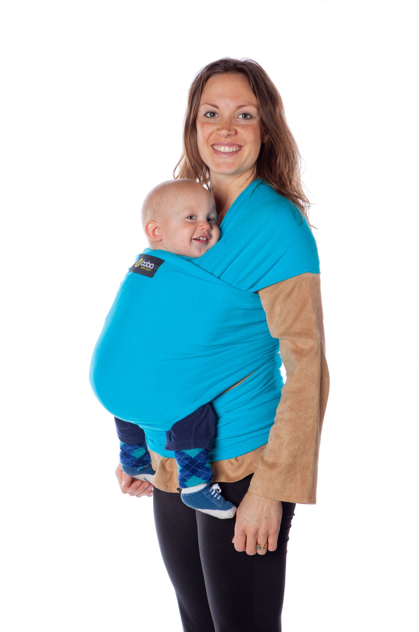 a5f6e706cd8 Boba Wrap Baby Carrier - Organic Turquoise. Front and infant hold.  Comfortable for newborns