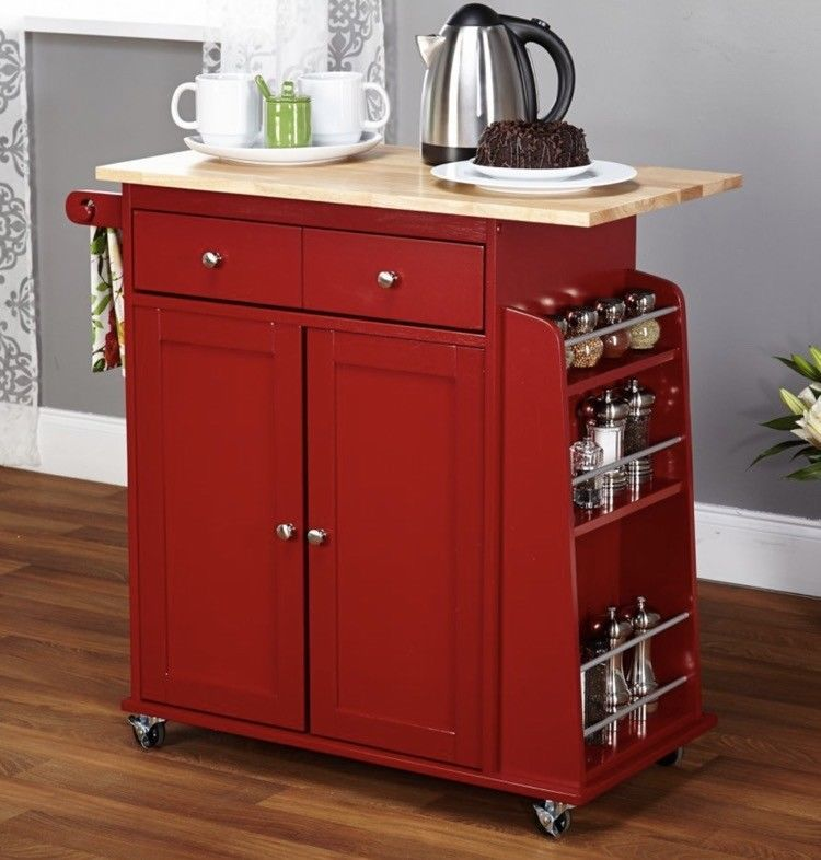 Red Kitchen Cart Mobile Island Utility Appliance Microwave Food Preparation New Red Kitchen Cart Kitchen Island Cart Kitchen Decor