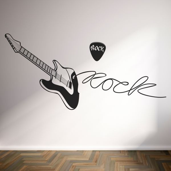 Vinilo decorativo de guitarra de rock con texto inclu do for Vinilos musicales
