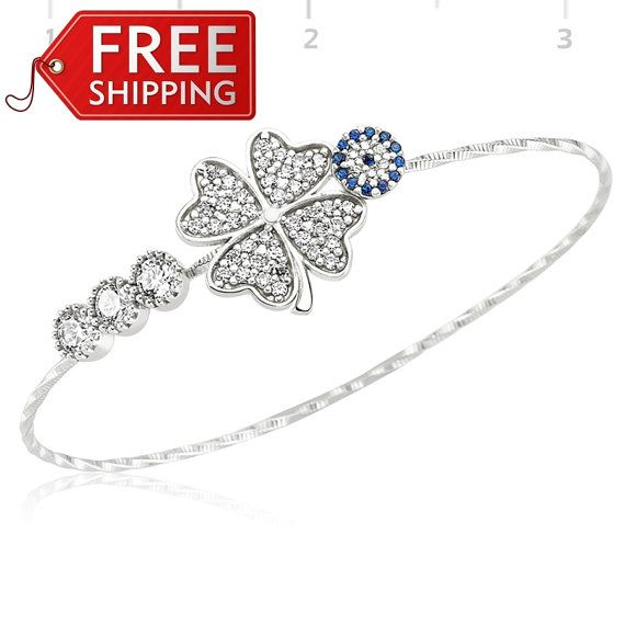 Evil Eye Bracelet With Four Leafed Clover 925 Sterling Silver Filled , REAL SAPPHIRE and CZ stones by Evil Eye Gems (Evil Eye Jewelry)