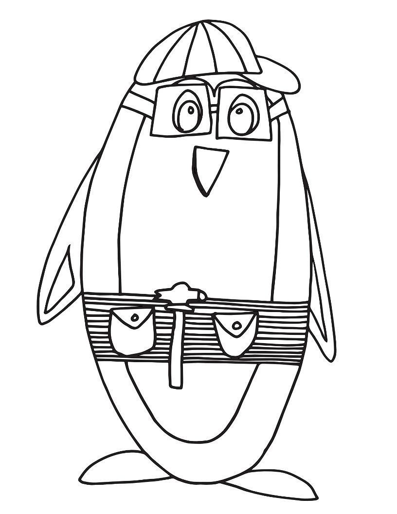 construction penguin free printable coloring page