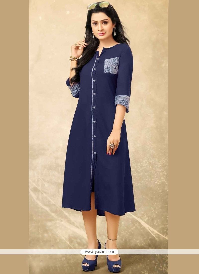 e6b2e12e2 Navy Blue Print Work Rayon Party Wear Kurti Denim Kurti Designs