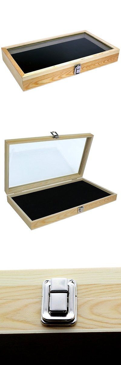 Jewelry Boxes 3820: Wooden Jewelry Box Case Glass Top Lid Storage Organizer Medals Display Holder BUY IT NOW ONLY: $42.72
