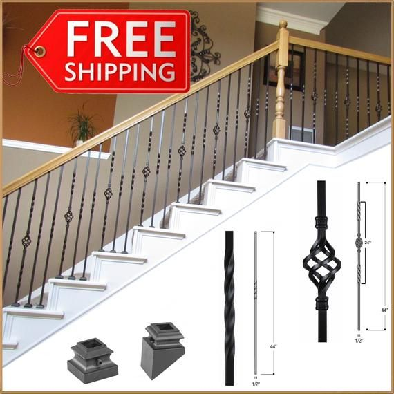 Stair Railing Parts, Balusters, Iron Spindles, Staircase