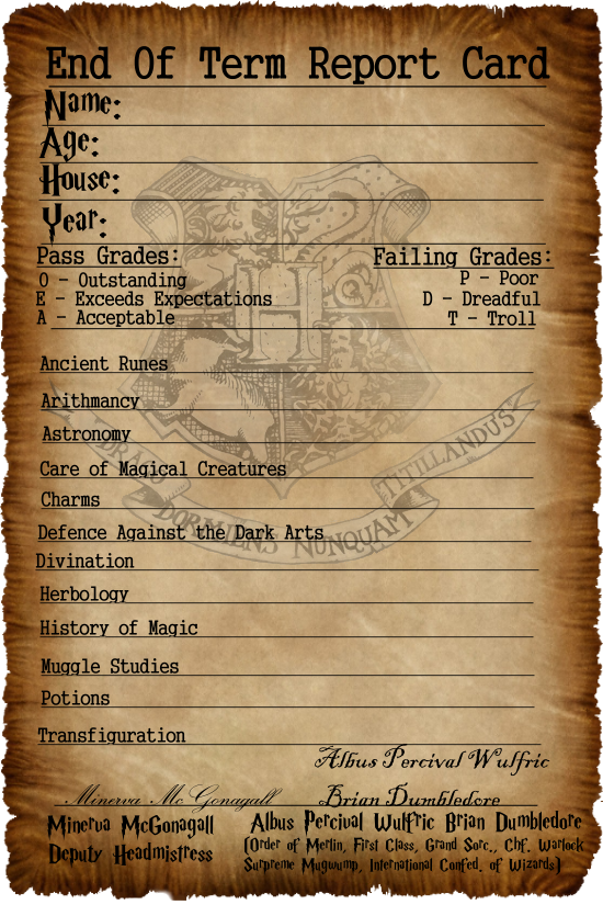 hogwarts report card