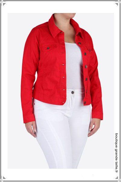 Veste denim femme rouge
