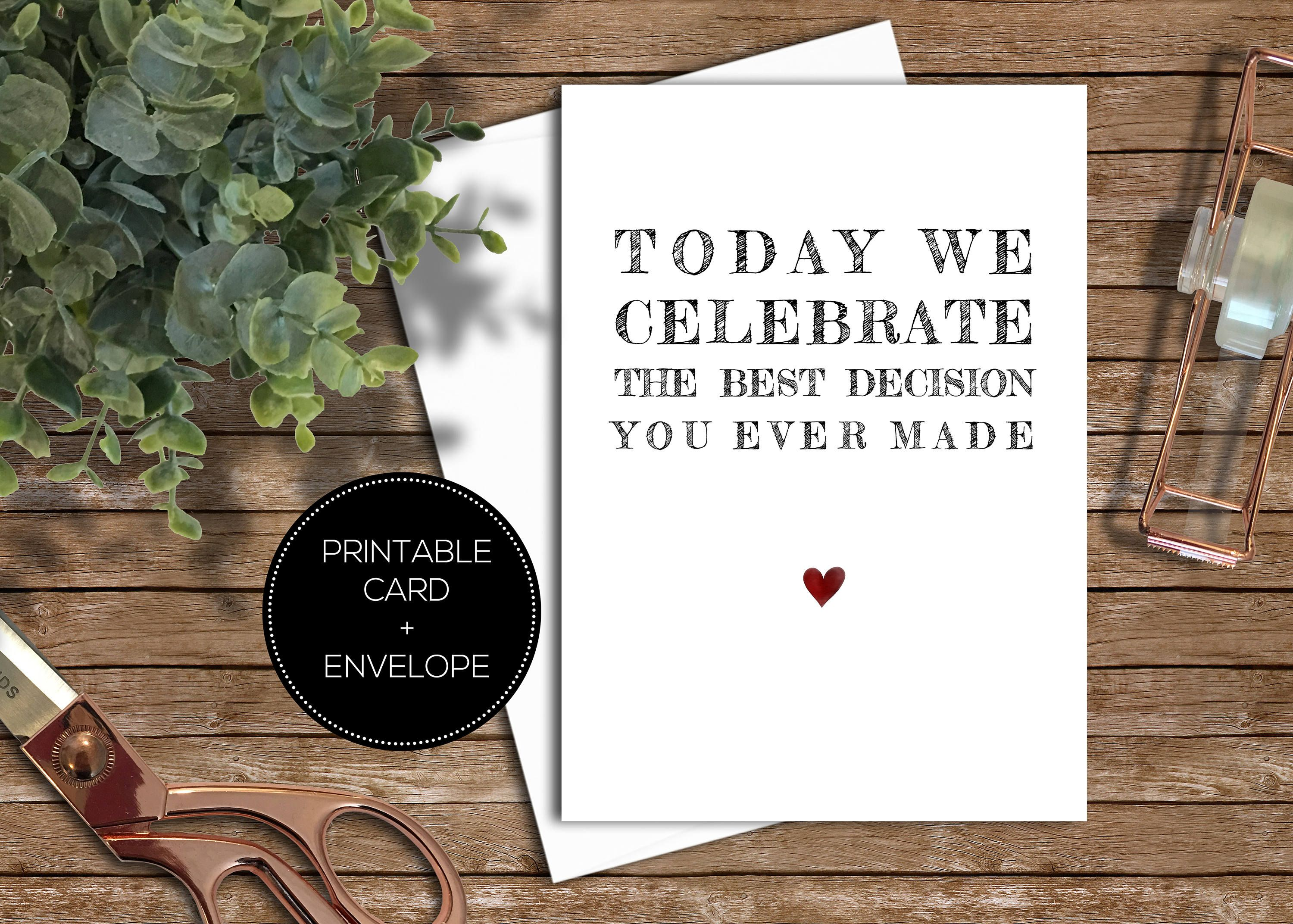 Printable anniversary greeting card instant download template cute