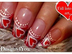 Valentine S Day Nail Art For Long Nails Decorated With A Heart