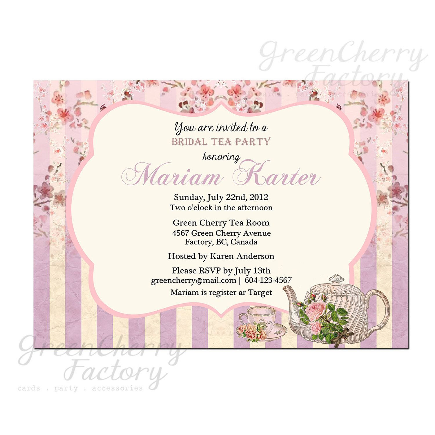 martha stewart tea tags | Bridal Birthday Baby Tea Party Invitation ...