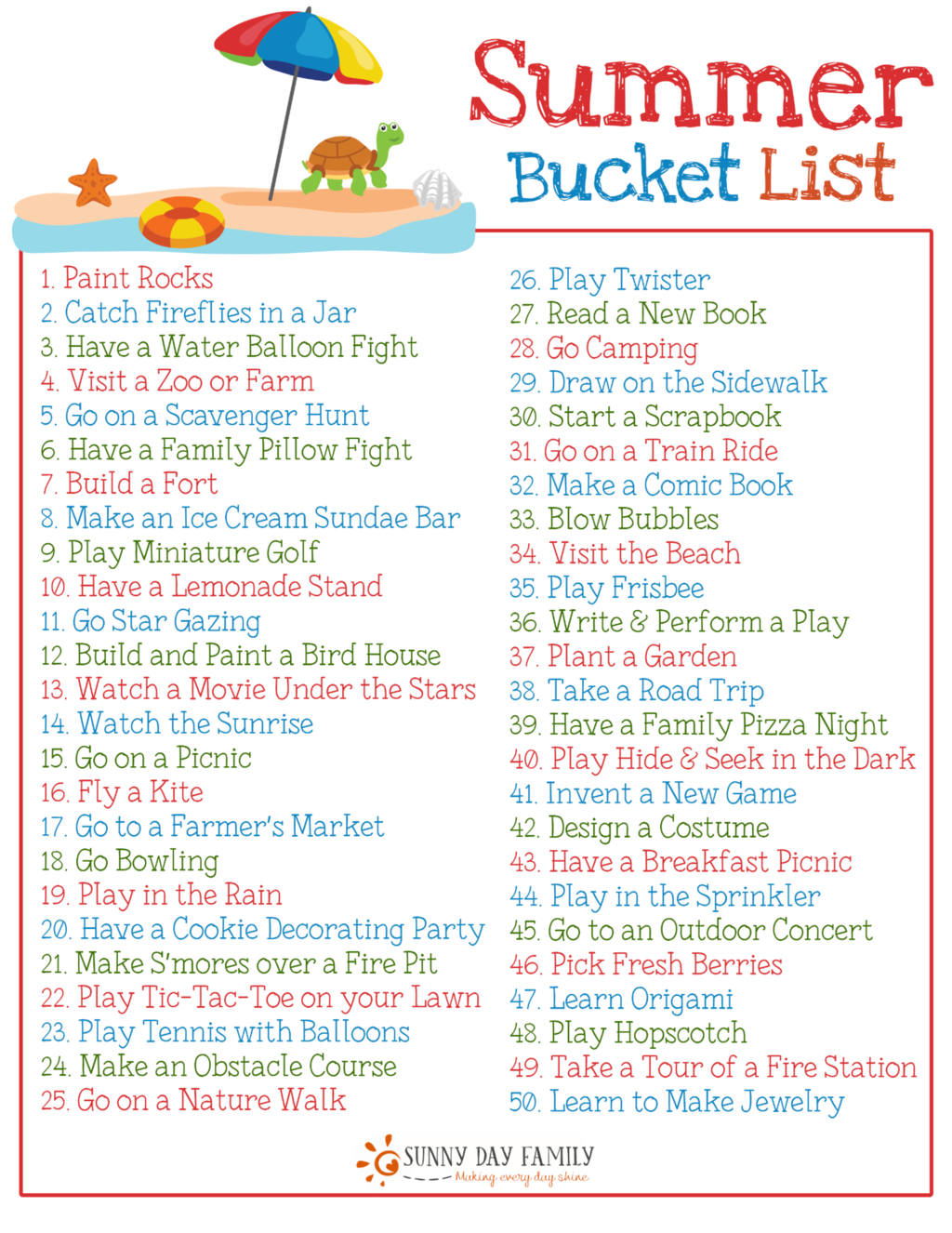 50 Summer Fun Ideas for Kids with a Free Printable Summer Bucket List #summerschedule