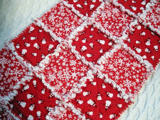 Red and White Snowflake and Snowman Rag Quilt Table Runner ... : red snowflake quilt - Adamdwight.com
